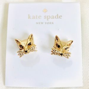 Kate Spade Fox Cubic Zirconia Gold Stud Earrings